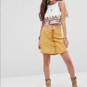 Free People yellow corset lace up aline mini skirt